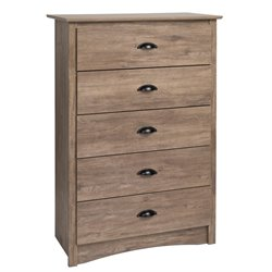 Prepac Salt Spring 5 Drawer Chest in Drifted Gray