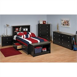 Black Twin Platform Storage Bed 7 Piece Bedroom Set