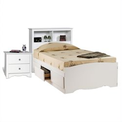 White Twin Platform Storage Bed 6 Piece Bedroom Set