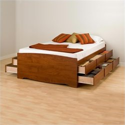 Cherry Full Wood Platform Storage Bed 3 Piece Bedroom Set