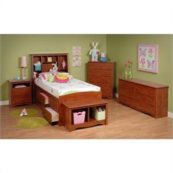 Cherry Twin Wood Platform Storage Bed 3 Piece Bedroom Set