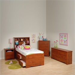 Cherry Twin Wood Platform Storage Bed 4 Piece Bedroom Set