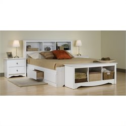 White Full Wood Platform Storage Bed 4 Piece Bedroom Set