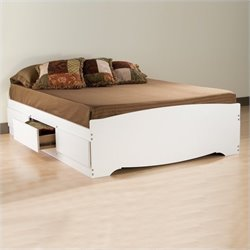 Full Platform Storage Bed 6 Piece Bedroom Set in White