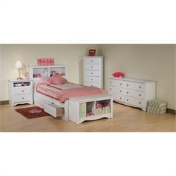 White Twin Wood Platform Storage Bed 4 Piece Bedroom Set