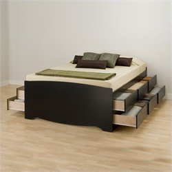 Black Tall Full Wood Platform Storage Bed 3 Piece Bedroom Set