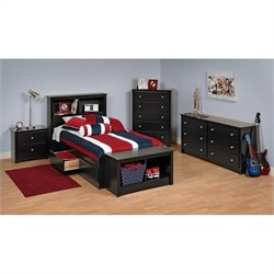 Black Twin Wood Platform Storage Bed 4 Piece Bedroom Set