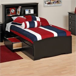 Black Twin Platform Storage Bed with Drawers