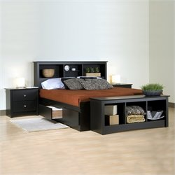 Black Wood Platform Storage Bed 3 Piece Bedroom Set