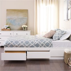 White Queen Platform Storage Bed