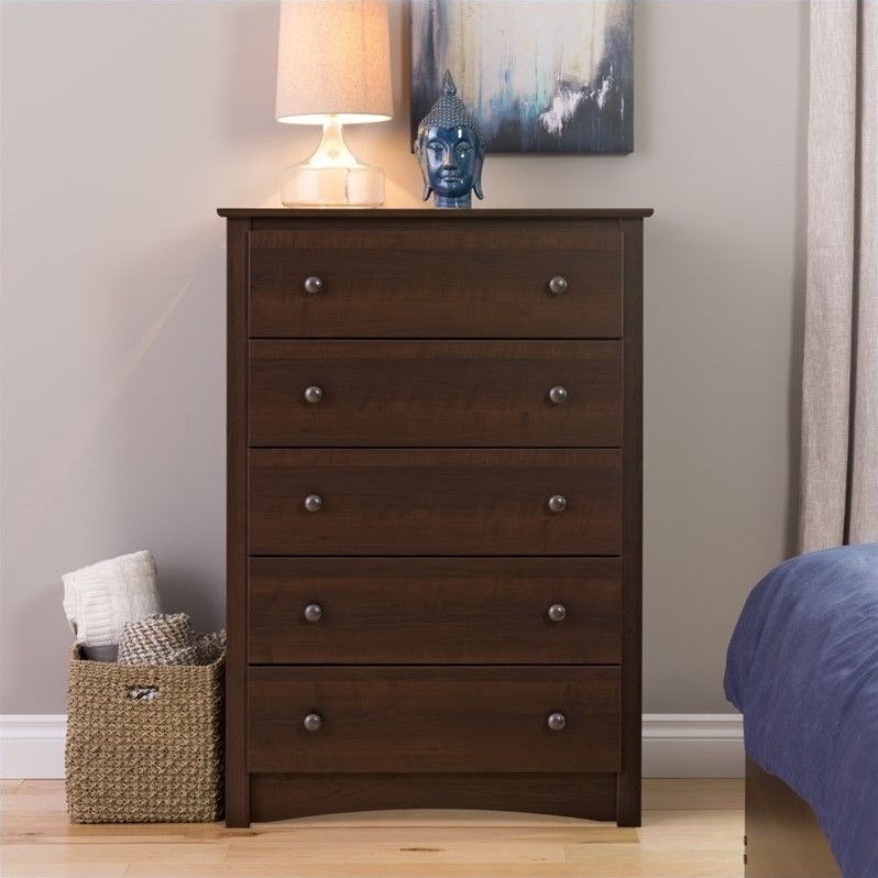 5 Drawer Chest In Espresso Finish Edc 3345