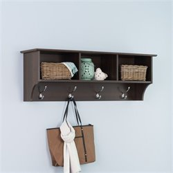 Espresso Entryway Cubbie Shelf Coat Rack