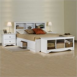 White Full Platform Storage Bed 3 Piece Bedroom Set