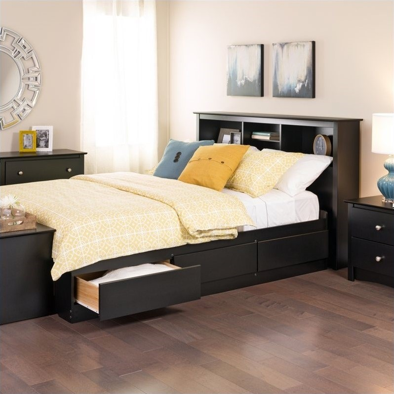 Bookcase Platform Storage Bed with Headboard in Black