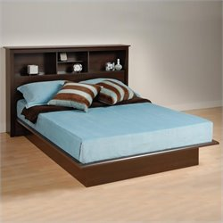 Prepac Manhattan Queen Bookcase Platform Bed in Espresso Finish