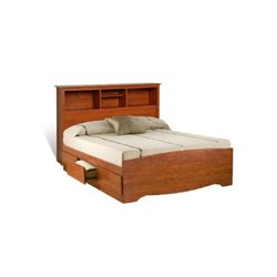 Queen Bookcase Platform Storage Bed in Cherry