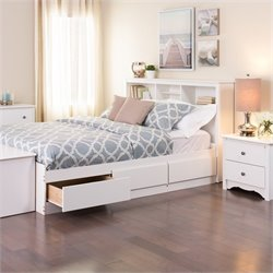 White Double / Full Bookcase Platform Storage Bed