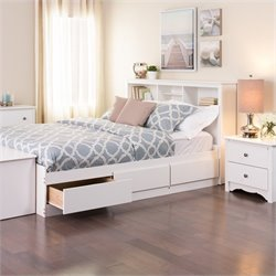 White Queen Bookcase Platform Storage Bed