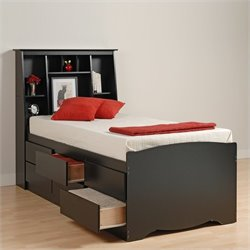 Black Tall Twin Bookcase Platform Storage Bed