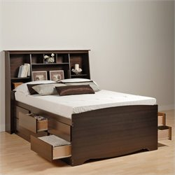 Tall Queen Bookcase Platform Storage Bed in Espresso Finish