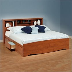 King Bookcase Platform Storage Bed in Cherry