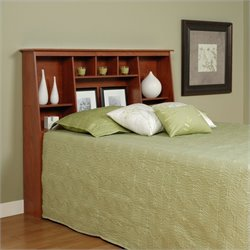 Slant-Back Tall Full Queen Bookcase Headboard in Cherry