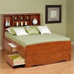 Queen Tall Bookcase High-Platform Storage Bed in Cherry