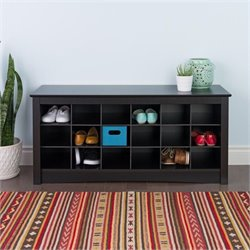 18 Cubby Shoe Storage Bench in Black