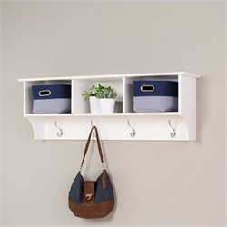 White Cubbie Shelf Wall Coat Rack for Entryway