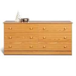 Prepac Juvenile 6 Drawer Double Dresser in Oak