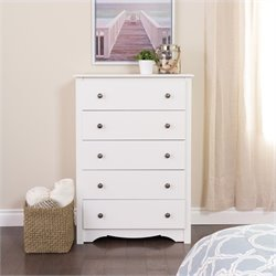 5 Drawer Chest in White Finish