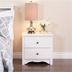 White 2 Drawer Night Stand