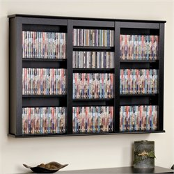 Triple Floating Media Wall Storage in Black