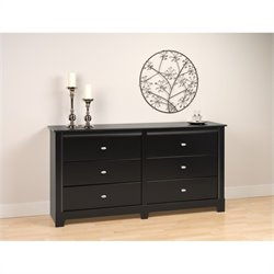 6 Drawer Double Dresser in Black Finish
