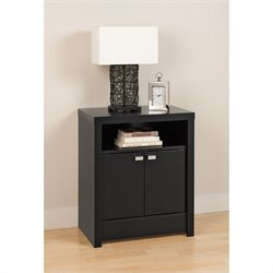 2 Door Tall Nightstand in Black