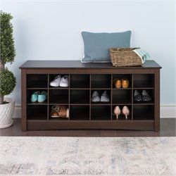 18 Cubby Shoe Storage Bench in Espresso