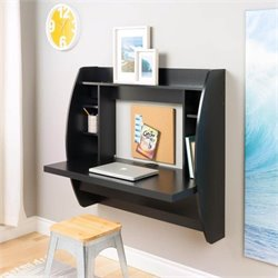 Floating Computer Desk with Storage in Black