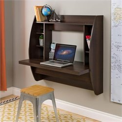 Floating Computer Desk with Storage in Espresso