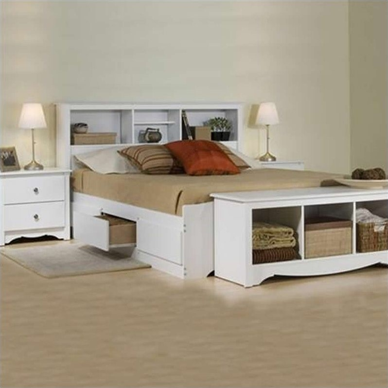 White Queen Bookcase Platform Bed 3 Piece Bedroom Set