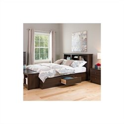 Prepac Manhattan Bookcase Platform Bed 2 Piece Bedroom Set in Espresso