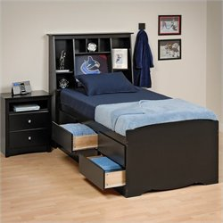 Black Tall Twin Platform Storage Bed 2 Piece Bedroom Set