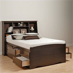 Prepac Manhattan Double/Full Bookcase Platform Bed 3 Piece Bedroom Set