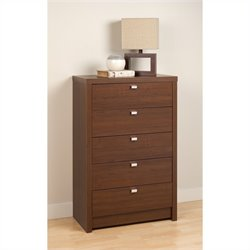 5 Drawer Chest in Medium Brown Walnut