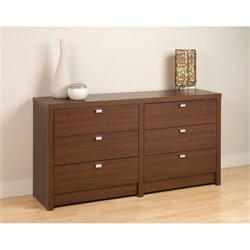 6 Drawer Dresser in Medium Brown Walnut
