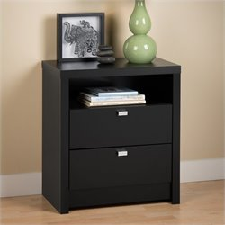 Tall 2 Drawer Nightstand in Black