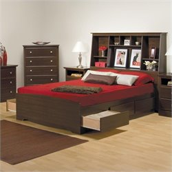 Prepac Manhattan Full Tall Bookcase Platform Storage Bed in Espresso