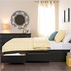 Full Platform Storage Bed with Headboard in Black