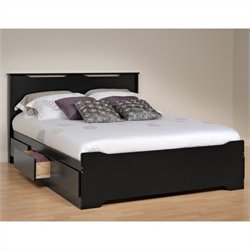Queen Platform Storage Bed with Headboard in Black