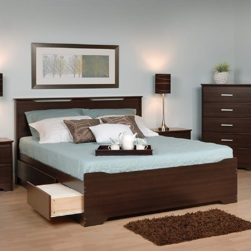 Full Platform Storage Bed with Headboard in Espresso