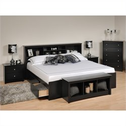 5 Piece King Bedroom Set with Storage Bench in Black